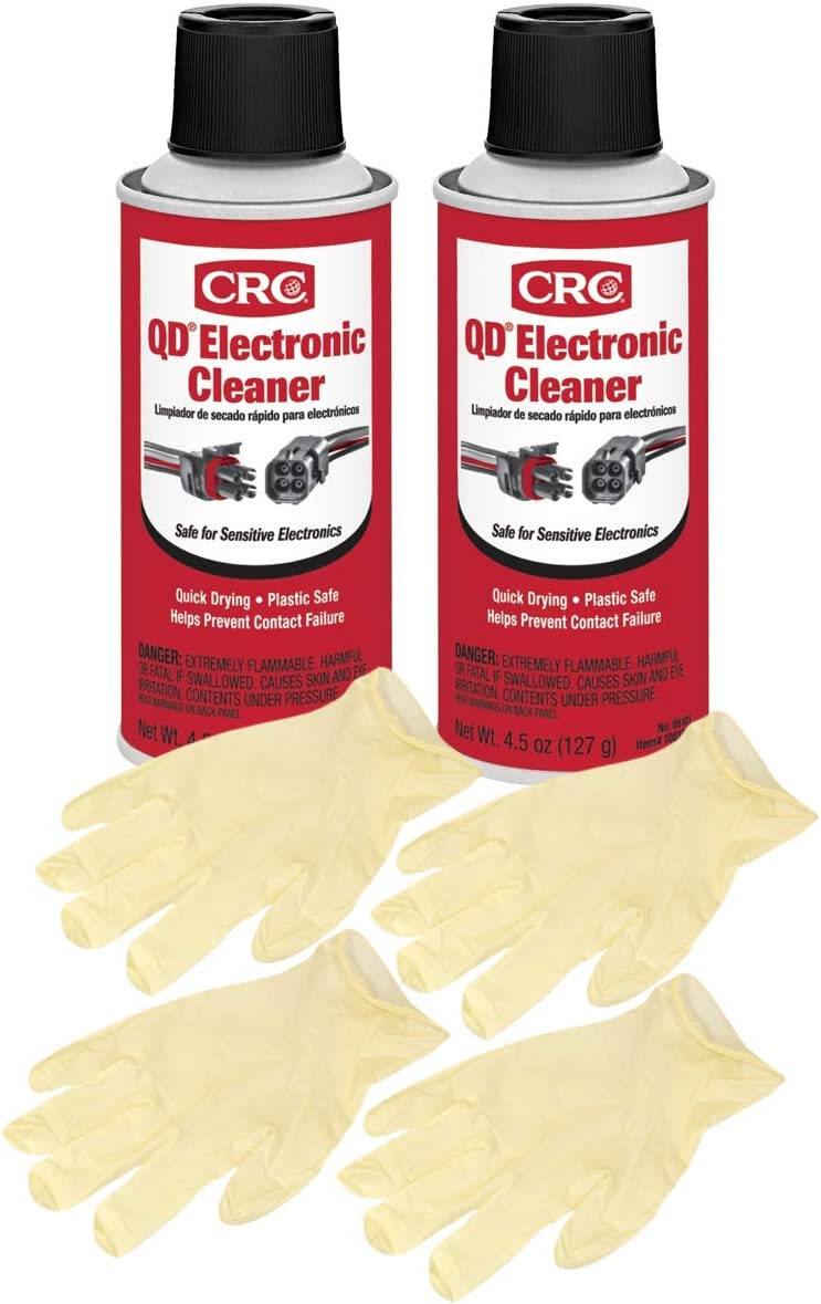 CRC QD Electronic Cleaner 4.5 Wt Oz. Bundle with Miami Mall Gloves Max 43% OFF Latex