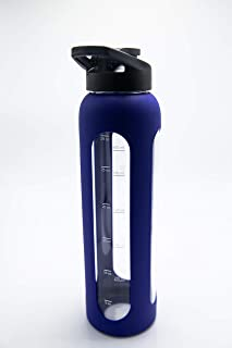 Xtremeglas 32 Oz Glass Water Bottle with Leak Proof Sport Lid Shaker Ball Silicone Sleeve 1L Time Marked Measurements BPA Free for to Go Travel Gym Home Reusable Water Tracking Daily Intake Hot Safe
