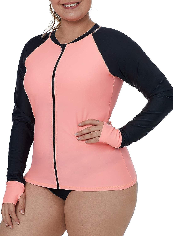 EVALESS Women Long Sleeve Rashguard Shirt Zip Front Multicoloured Striped Swimwear Tops