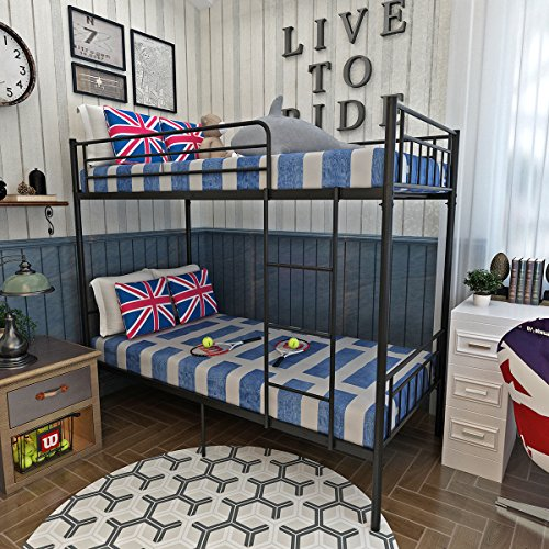 Tuff Concepts 2 x 3FT Single Metal Bunk Bed Frame 2 Person for Children Twins Kids (Black)