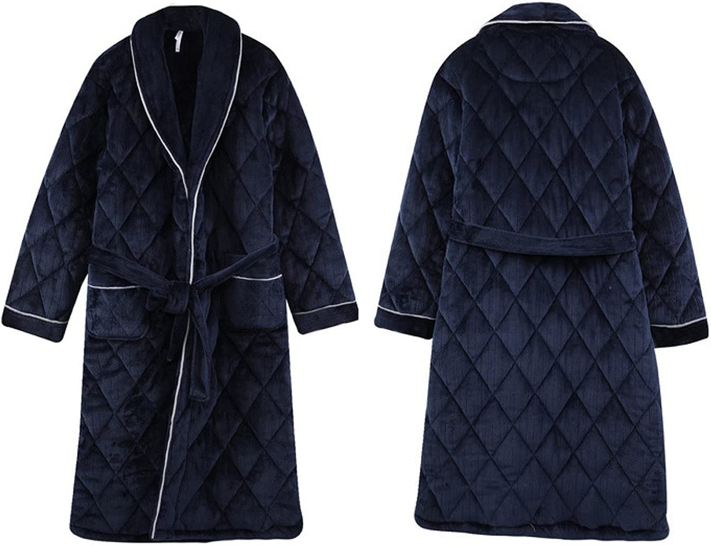 Men's Coral Fleece Knitted Nightgown Long Sleeve Plus Fleece Bathrobe Loose Casual Home wear