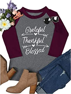 HRIUYI Women Grateful Thankful Blessed Shirt Thanksgiving Casual 3/4 Sleeve O-Neck Baseball Tee Tops
