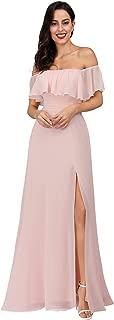 Womens Off The Shoulder Ruffle Party Dresses Side Split Beach Maxi Dress 07679