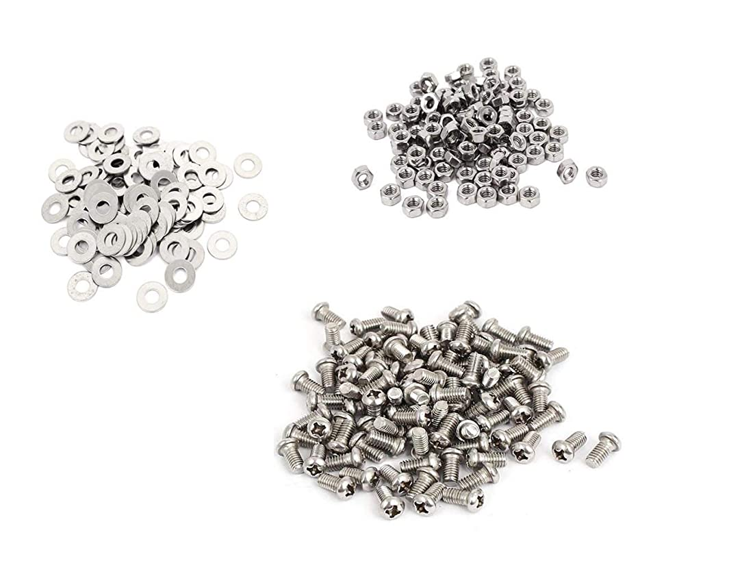 KINPAR 304 Stainless Steel Phillips Round Pan Head Machine Screws M2X8MM & M2 Hex Nut Fastener & M2 Round Flat Washer Set(300pcs)
