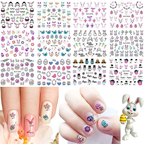 12 Designs Easter Nail Art Stickers Glitter 3D Easter Nail Decals Self-Adhesive Bunny Eggs Chicken Cartoon Rabbits Nail Art Decoration Cute Holiday Nail Stickers for Women Girls Kids Manicure