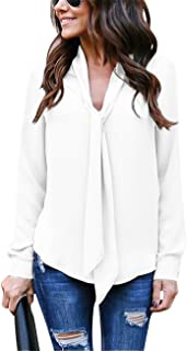 Yidarton Women's Cuffed Long Sleeve Casual V Neck Chiffon Blouses Tops with Tie