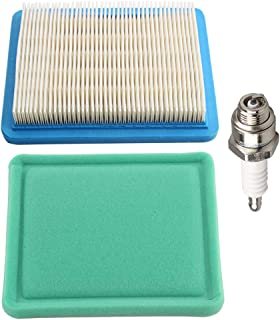 Butom 491588S 491588 Air Filter + 493537S 493537 Pre-Cleaner for Briggs & Stratton Engines w/Spark Plug