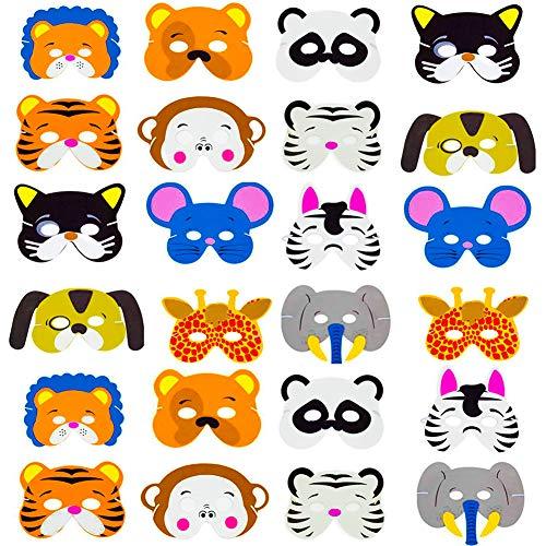SWZY EVA Mascarilla Animal,24 Mascarillas de Espuma EVA para niños para Bolsas...