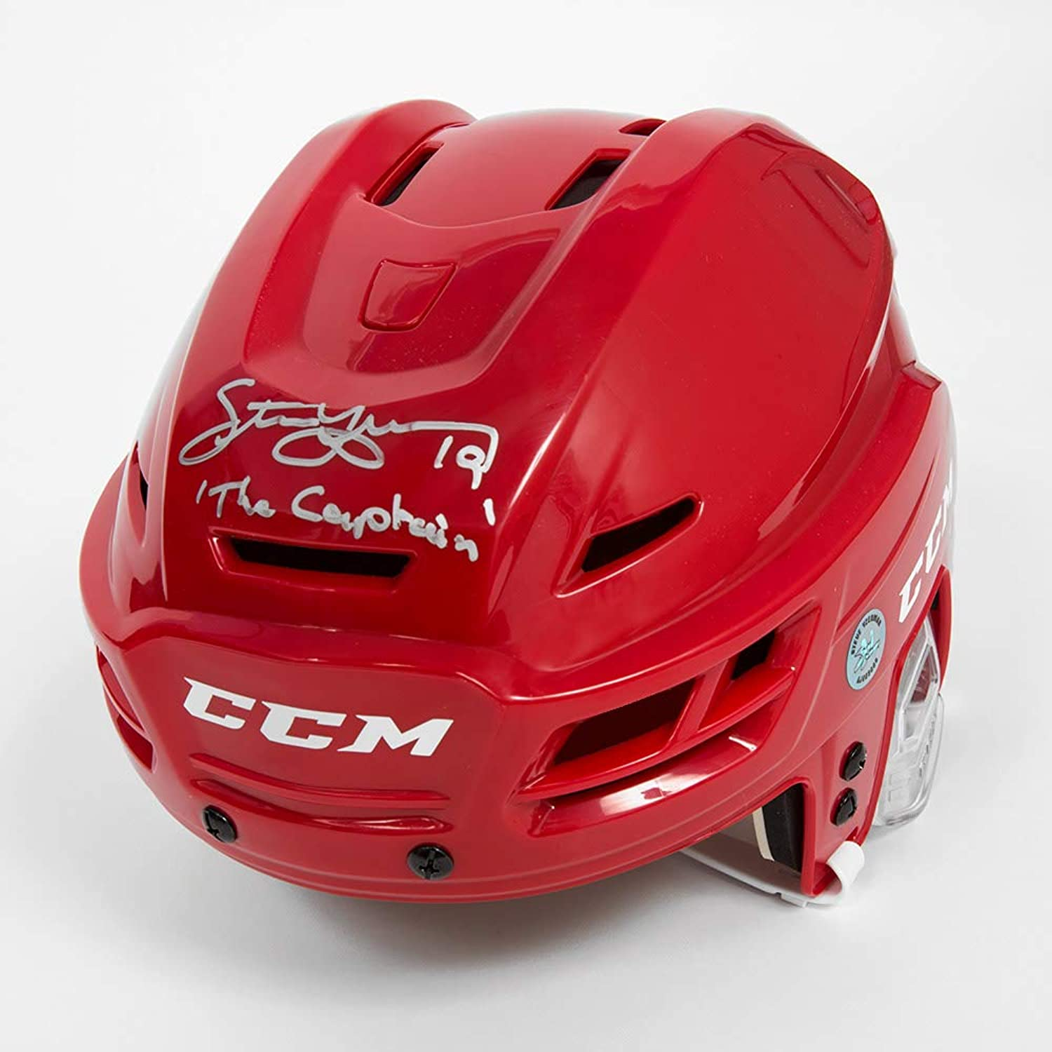 Steve Yzerman Signed Red CCM Detroit Red Wings Hockey Helmet with The Captain