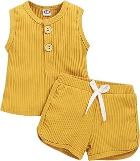 ملابس صيفية للأطفال حديثي الولادة من الأولاد والبنات بدون أكمام + سراويل قصيرة مجموعة ملابس ربيعية من قطعتين