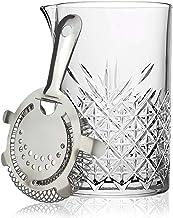 Jarra de cristal para mezclar cócteles con colador de Hawthorne, tamaño grande, 725 ml, corte de cristal