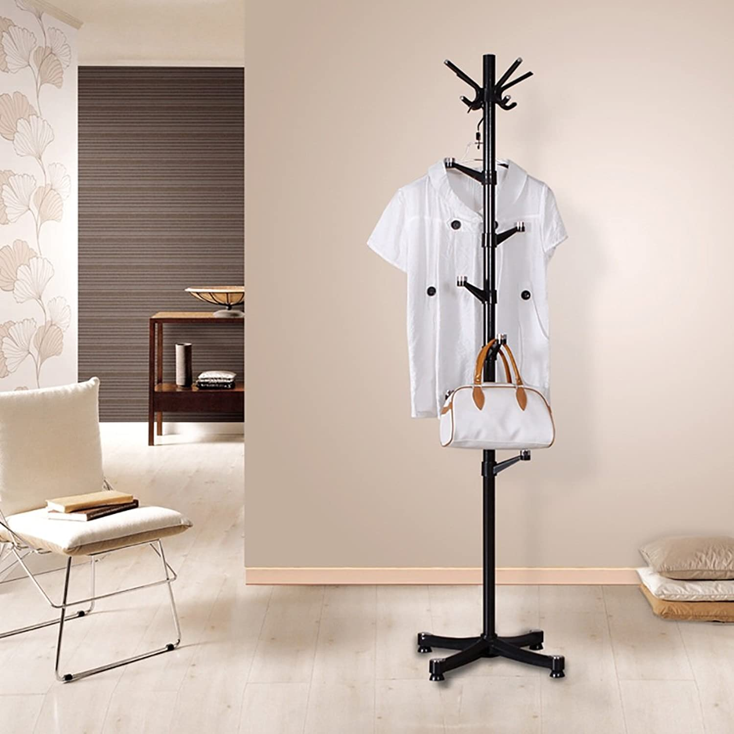 XRXY Simple Creative Coat Rack Floorstanding Bedroom Hanger Modern Multifunction Hangers (Size  175  37cm) (color   Black)