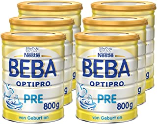Nestlé BEBA 雀巢贝巴 Pre段婴幼儿奶粉(适用新生儿)800g 6罐装(6x800g )(含长链多不饱和脂肪酸 欧米伽3)(不含助溶剂,冲泡需用力摇,冲后有结晶非品质问题,请放心食用)