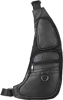 Leathario Men's Leather Chest Sling Crossbody Shoulder Bag Backpack for men
