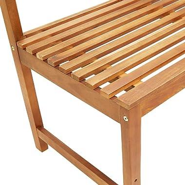 vidaXL Solid Acacia Wood Garden Corner Bench Rustic Durable Wooden Outdoor Patio Seating Seat Sitting Lounge Balcony Chair Fu