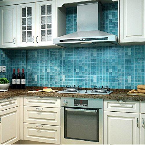 CucinaGood 45x500cm Cocina pared impermeable de mosaico pegatina de aluminio auta-adhesivo Anti Aceite papel pintado gris
