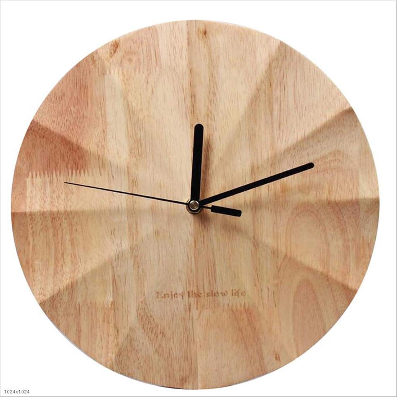 DDHZTA Madera Maciza Reloj de Parojo Sala de Estar atmósfera Personalidad Creativa Relojes Modernos Inicio Arte nórdico Reloj Mural Cartas