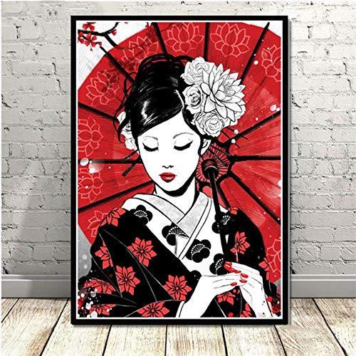 Japanische Art Wandkunst Leinwand Malerei japanische Samurai Geisha und Maiko Poster Leinwand für Wohnzimmer Dekoration Malerei Wandbild 50 * 70Cm (randlos)