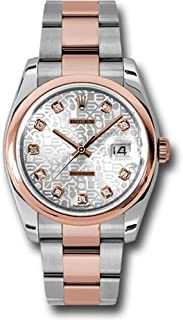 Rolex Oyster Perpetual Datejust 36mm Stainless Steel Case, 18K Pink Gold Domed Bezel, Silver Jubilee Dial, Diamond Hour Markers, Aand Stainless Steel and 18K Pink Gold Oyster Bracelet.