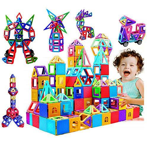 infinitoo 162tlg Magnetische Bausteine Magnetic Bauklötze Baukasten Kinder   Tolles Geschenk Lernspielzeug für Kinder ab 3 Jahre   Perfekt für den Einsatz zu Hause, in Schulen etc.