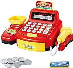 Toyvian Juguete de Caja registradora Compras realistas Tienda de supermercado Juguete con calculadora Escáner de Trabajo Pesaje para niños Fiesta de simulación de niños (Rojo sin batería)