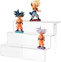 Cq acrylic Acrylic Riser Display Shelf for Amiibo Funko POP Figures,Cupcakes Stand for Cabinet,Countertops,Table 3 Tier,Clear