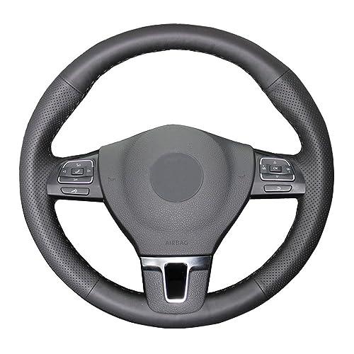Eiseng DIY Genuine Leather Steering Wheel Cover for 2011-2016 Volkswagen VW Tiguan Passat 2009