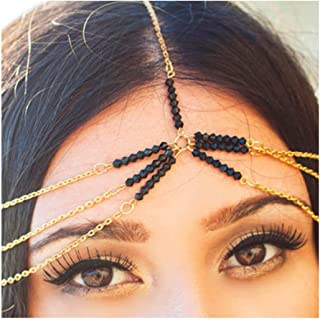 Drecode Baroque Multiayered Head Chains Jewelry Dainty Beaded Headband Fashion Pendant Hair Accessories for Women and Girls