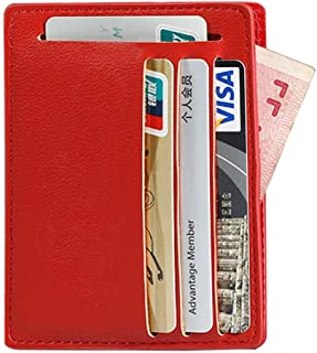 Credit Card Holder,Genuine Leather Card Wallet for Women, ID Card Slot Fashion Red Card Wallet