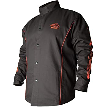 Black Stallion Bsx Fr Welding Jacket Black W Red Flames Medium Amazon Com