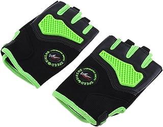 Homyl Green Luvas esportivas de ciclismo de motocicleta com metade dos dedos