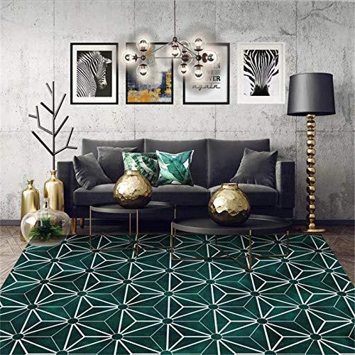 PANGLDT Wohnzimmer Home Teppich -Dunkelgrüner Diamant-Musterteppich- Teppich weich fürs Küchenmatten Schlafzimmer Anti-Müdigkeit Fußmatten-45x115cm