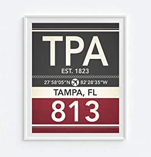 Tampa Florida TPA 813 Vintage Airport Area Code Map Coordinates Subway Art Print, Unframed, Christmas Father's Day Housewarming Gift Home Decor Poster, 8x10