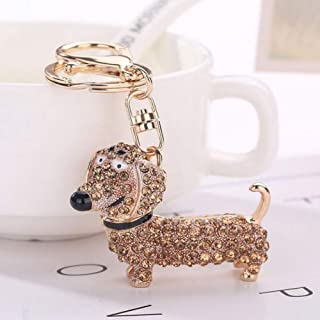 DALMSV Fashion Rhinestone Dog Dachshund Keychain Bag Charm Pendant Keys Holder Keyring Jewelry for Women Girl Gift