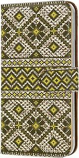 手帳型 カードタイプ スマホケース LG isai vivid LGV32 用 [ノルディック柄・イエロー] 北欧柄 ニット風 エルジー イサイ ビビッド au スマホカバー 携帯ケース スタンド knitted 00r_169@06c
