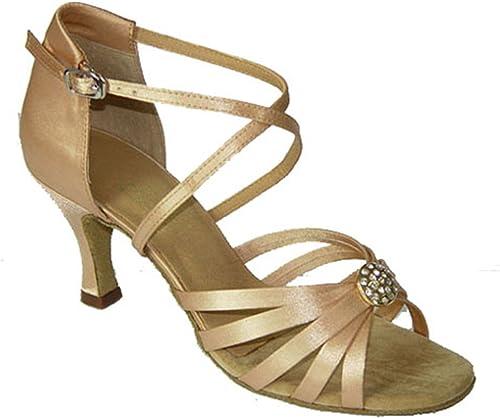 Wohommes Chaussures De Danse Latine,Satin Tête Ronde Fond Mou Talons Hauts Salsa Chaussures De Danse Tango Chaussures De Danse Sociale