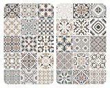 WENKO Coprifornelli universali piastrellato - Set di 2 coprifornelli per tutti i tipi di fornelli, Vetro temperato, 3030 x 1.8-5.5 x 5252 cm, Multicolore