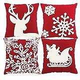 Yastouay 4er Set Kissenbezug Kissen Zierkissenbezug Sofakissen Hirsch-Motiv Wurfkissen Dekoration für Sofa Couch Büro Weihnachten 45 x 45 cm