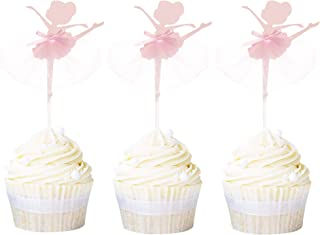 Newqueen 20 Pack Ballerina Tutu Cupcake Toppers Pink Ballet Girl Cupcake Picks Baby Shower Birthday Party Cake Decoration Supplies