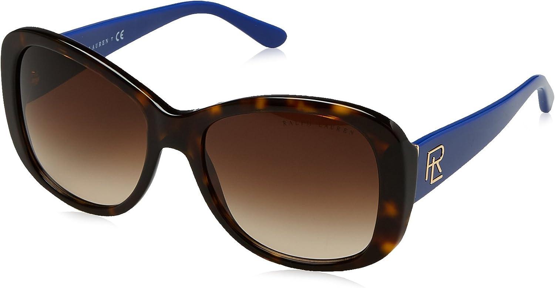 Ralph by Ralph Lauren Women's 0rl8144 Rectangular Sunglasses shiny dark havana 56.0 mm