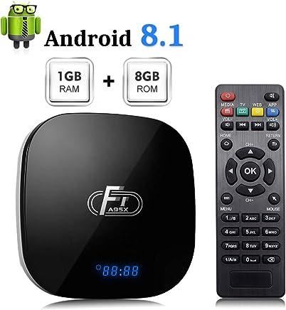 Sidiwen Android 8.1 TV Box F1 1GB RAM 8GB ROM Amlogic S905W Quad-Core Cortex-A53 CPU 2.4G WiFi Ethernet Compatible 3D 4K H.265 Smart Media Player