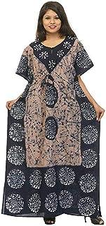 Odishabazaar Women's Ethnic Print Kaftan Maxi Dress Summer Beach Dress Cover Up (Purple-Black)