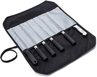 Oxford Bolsa de almacenamiento para cuchillos de chef con 6 ranuras, rollo de herramientas multiusos, bolsa de almacenamiento para cuchillos de chef