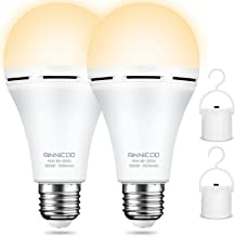 Rechargeable Emergency Light Bulb(Pack of 4), Battery Backup for Power Outage, 3000K Warm White 1200mAh with Hook Switch,1...