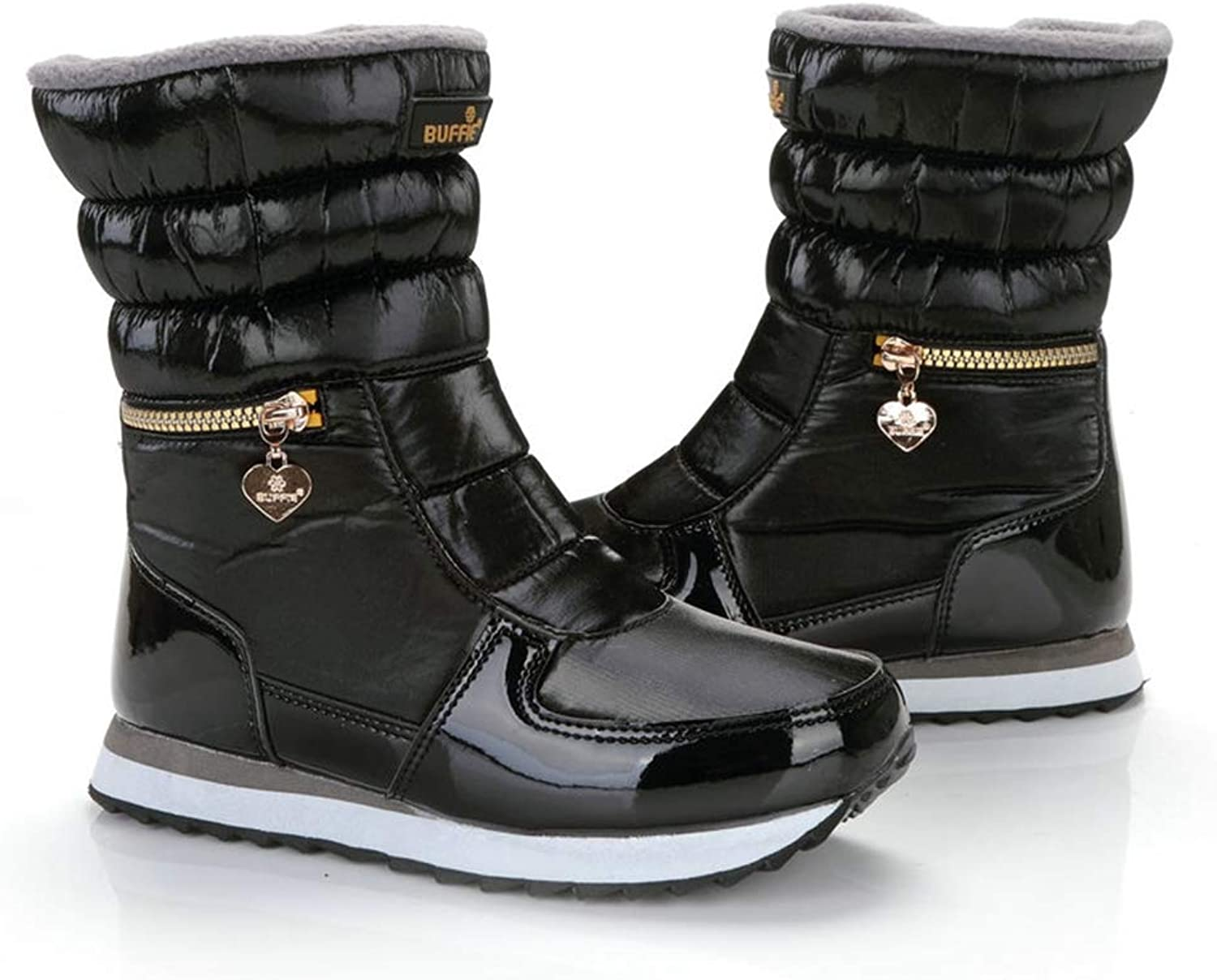 T-JULY Women's Snow Boots Fashion Winter Warm Mid-Calf shoes