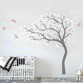 Runtoo Pegatinas de Pared Árbol Grandes Stickers Adhesivos Vinilo Blanco Decorativas Salon Dormitorio Habitacion Bebe
