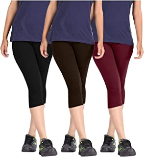Fablab Women's Cotton Capri for Girls Ladies, 3/4 Leggings (BlackBrownMaroon,Free Size) Combo Pack of 3.