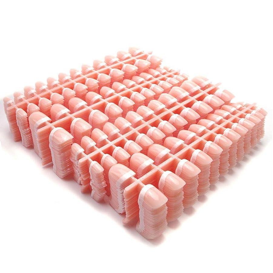 扇動リスク品揃えYuNail ネイルチップ 24枚  12別サイズ つや出し 幾何学 セロファン 足の爪 ピンク 短い 四角形 フルカバー 水玉