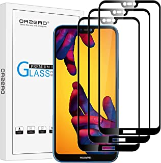 (3 Pack) Orzero Tempered Glass Screen Protector Compatible for Huawei P20 Lite, 2.5D Arc Edges 9 Hardness HD Anti-Scratch Full-Coverage (Lifetime Replacement Warranty)