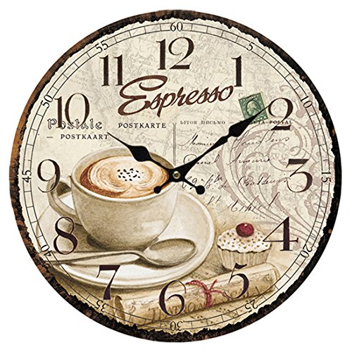 Xshions Wooden Wall Clock, 13 Inch Wall Clocks Decorative Living Room Art European Antique Style (Coffee-3)